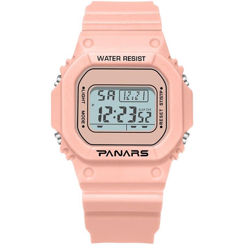 PANARS Women Digital Watch Men Sport Electronic Fashion Swim Waterproof Comfortable Square Shock Resistant  Wristwatch