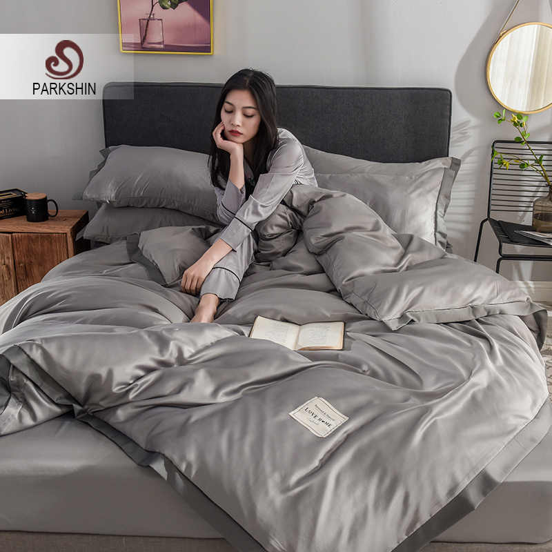 ParkShin 100% Silk Luxury Bedding Set Gray Comforter Cover Flat Sheet Double Queen Adult Bed Linen Euro Set 4pcs Home Textiles