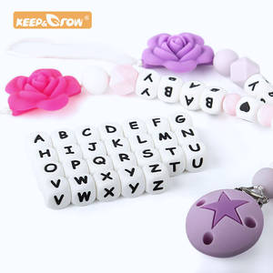 Silicone Beads Baby-Teether-Beads Diy-Accessories Grow Keep Alphabet Chewing 12mm