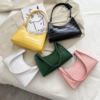 Moda requintado saco de compras retro casual feminina totes bolsas de ombro feminino couro cor sólida corrente bolsa para mulher 2020 1
