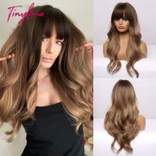 TINY LANA długie Ombre czarne brązowe peruki syntetyczne z grzywką naturalne fale fryzura dla kobiet na imprezę Cosplay włókno termoodporne