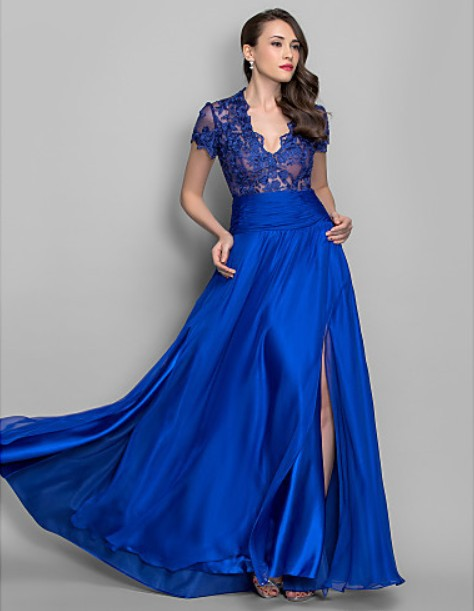 New Fashion 2018 Sexy Vestido De Festa Casual Brief Short Sleeve Royal Blue Lace Long Evening Gown Mother Of The Bride Dresses