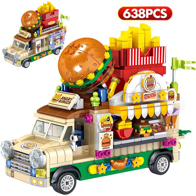 City Mini Girls Ice Cream Sets Model Building Blocks Friends Racing Vehicle Hot Dog Camping Car Bricks Toys For Children