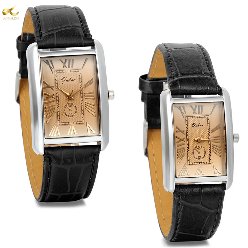 Lancardo 2019 Luxury Brand Rectangle Lovers Watch Leather Charm Arabic Numerals Men Women Wristwatch Hours Relogio Feminino
