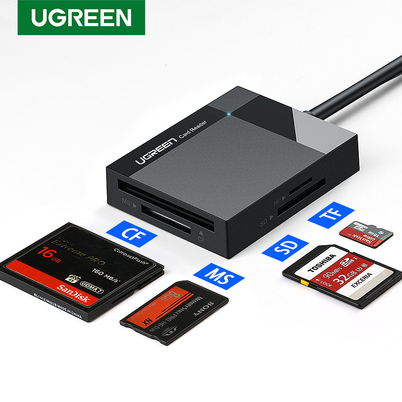 Ugreen Usb 3.0 Kaartlezer Sd Micro Sd Tf Cf MS Compact Flash Card Adapter Voor Laptop Otg Type C om Multi Kaartlezer Usb 3.0