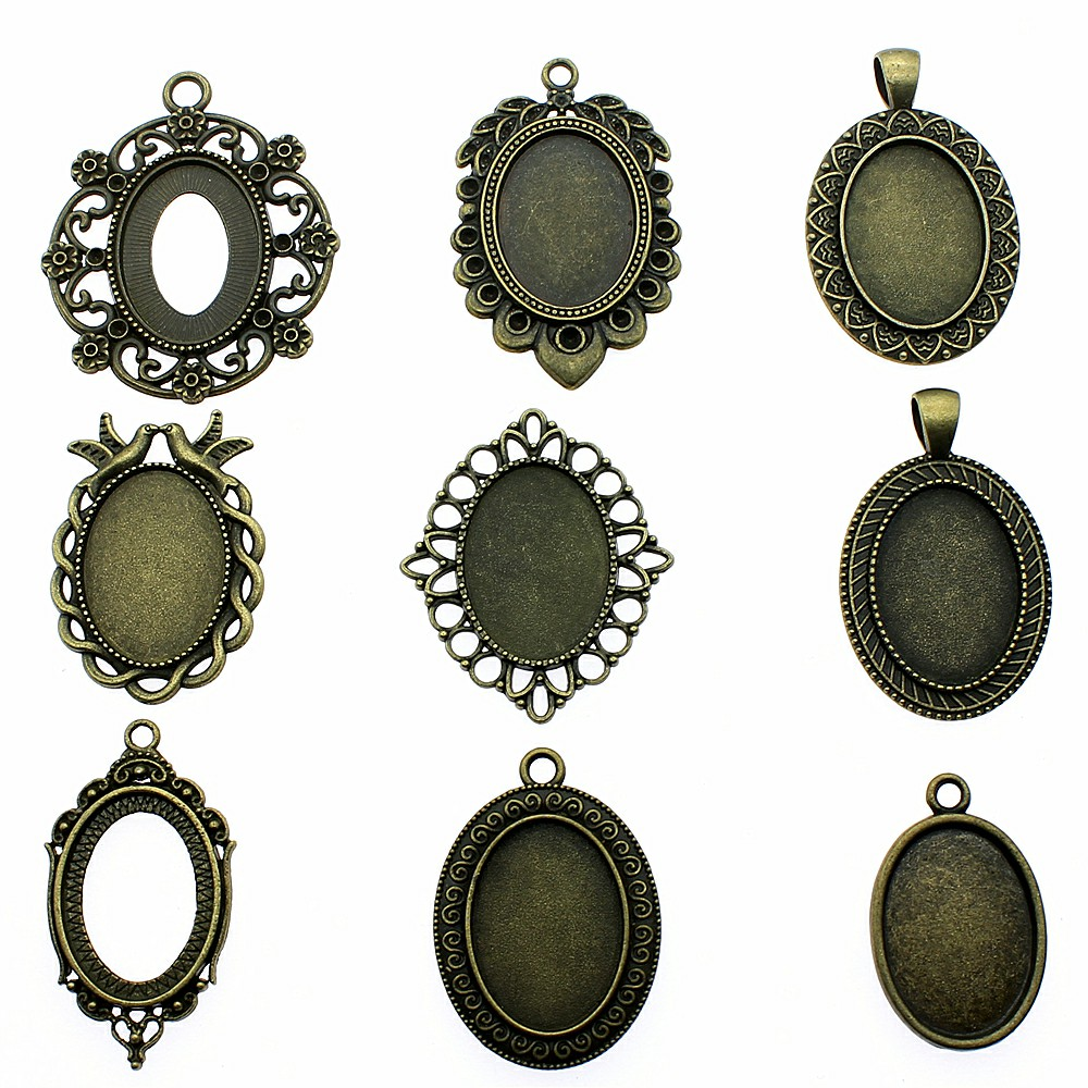 8pcs/lot Fit <font><b>18x25mm</b></font> <font><b>Oval</b></font> Glass <font><b>Cabochon</b></font> Base Setting Pendant Tray For Jewelry DIY Making Antique Bronze Color FM1014 image