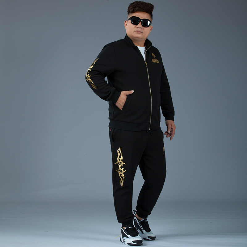 Autumn New Arrival Plus-sized Set Golden Casual Stand Collar Men's Large Size Sports Set Extra Large