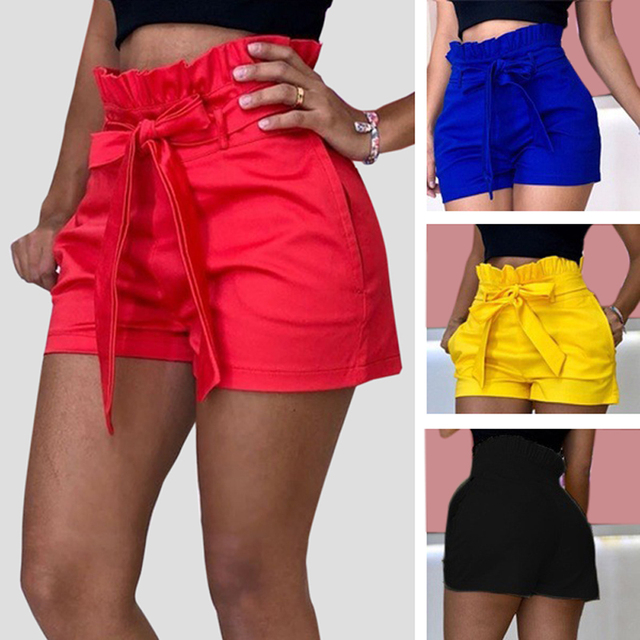 5XL Plus Size Women's High Waist Shorts Pure Color Loose Casual Shorts Feamle 2021 New Summer Streetwear Shorts For Women Ladies 1