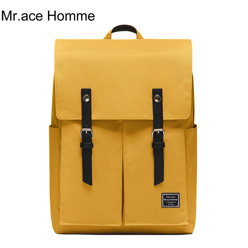 Brand Yellow Color Large 15inch Laptop Backpack Women School Backpack Men Waterproof College Bag For Girl Big Travel Bagback Boy image