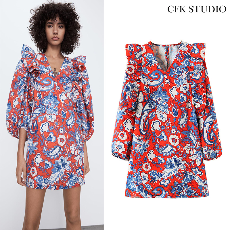 <font><b>Women</b></font> Summer Minidress 2020 New <font><b>Fashion</b></font> with V-neck Floral Prine Long Sleeve <font><b>Chiffon</b></font> <font><b>Dress</b></font> Casual <font><b>Elegant</b></font> Pink <font><b>Sexy</b></font> <font><b>Dress</b></font> image