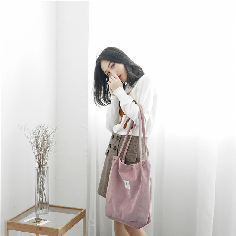 Women Corduroy Shopping Bag Female Canvas Cloth Shoulder Bag Environmental Storage Handbag Reusable Foldable Eco Grocery Totes 6