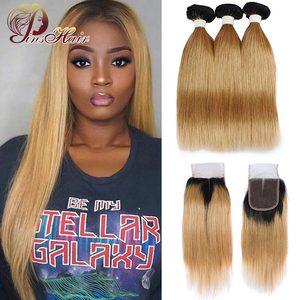 Image 3 - Mel loira pacotes com fechamento peruano cabelo reto ombre 3 pacotes com fecho 1b 30 cabelo humano tecer pinshair remy cabelo