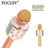 FGCLSY профессиональный Bluetooth беспроводной микрофон ручной микрофон динамик караоке музыкальный плеер для вокала, с рекордером KTV Mic