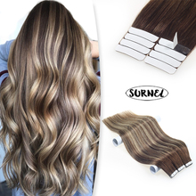 SURNEL Tape In Remy Human Hair Hot Selling Double Drawn Balayage Color Straight Brazilian Human Hair Tape in Hair Extensions