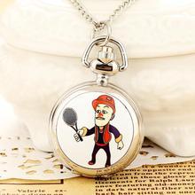 New Fashion Men and Women Silver Pocket Watch Quartz Stainless Steel Steampunk Cartoon Relogio Feminino Reloj Mujer