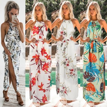 Boho Dress Fashion Floral Print Long Dress Sexy High Slit Halter Sleeveless Dress Bandage Decor Ladies Bodycon Party Dress фото