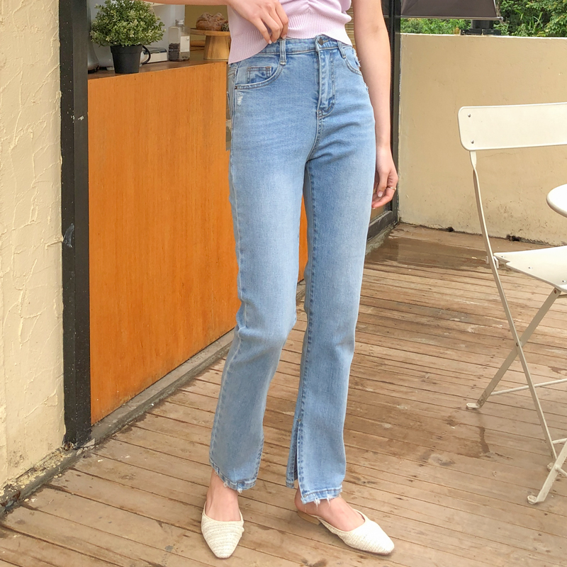 Women's Summer Straight Tube, High Waist, Slim And Versatile Side Slit Thin Cropped Pants