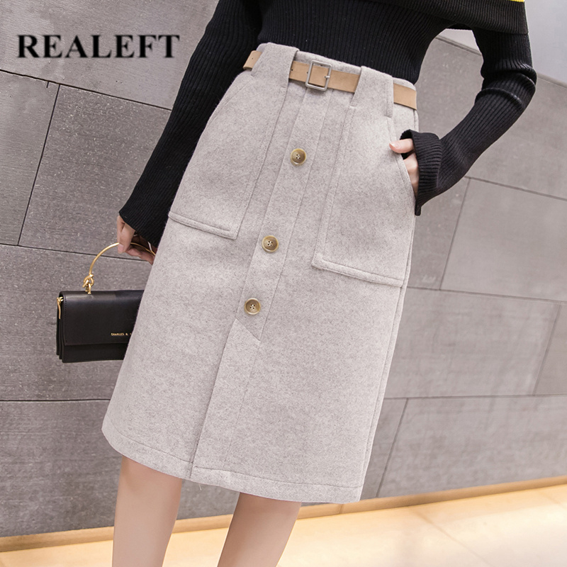 REALEFT Autumn Winter Sashes Women OL Style Woolen Sheath Midi Skirts High Waist Knee-Length Wrap Skirts Female With Pocket