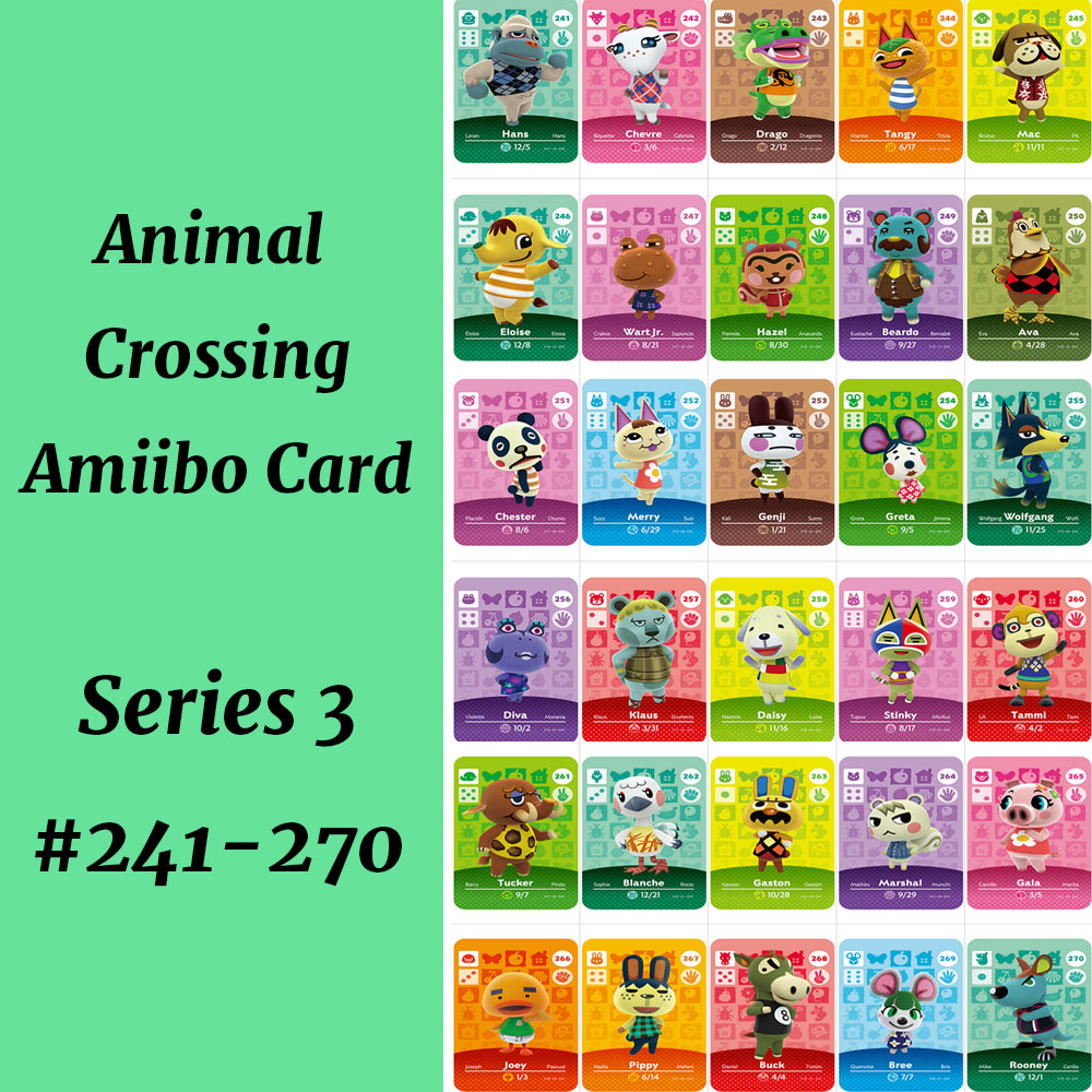 Animal Crossing Amiibo Card Series 3 (241 To 270) NS Amiibo Card Animal Crossing Card Amiibo Work For NS Games Villager Marshal