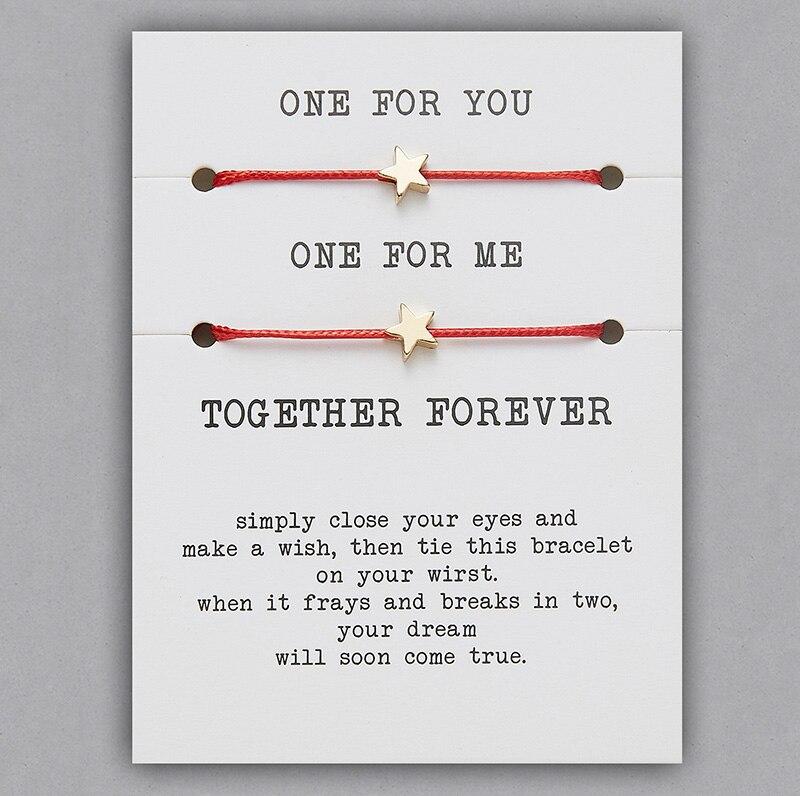 2 шт./компл. Сердце Звезда браслеты с крестообразной подвеской один для вас один для меня красная веревка плетение пара браслет для мужчин женщин карточка пожеланий - Окраска металла: BR18Y0712-2