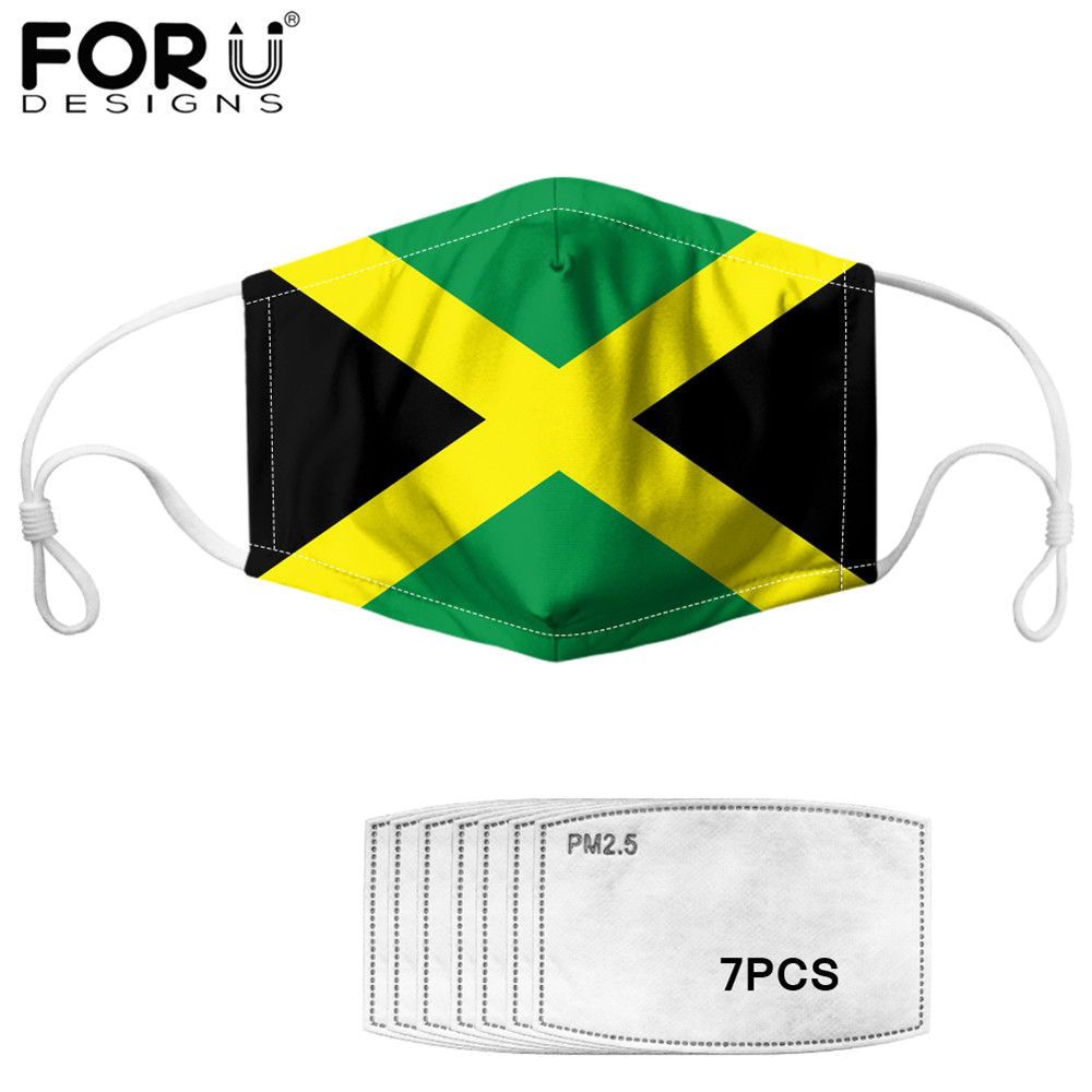 FORUDESIGNS Jamaica Flag Pattern Mouth Cover Mask And 7pcs PM2.5 Filters Mask  Anti Haze Washable Masks For Kids Masque