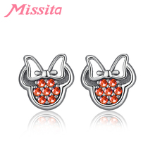 MISSITA 925 Sterling Silver Clear CZ Heart Crown Earrings for Women Wedding Silver Jewelry Brand Stud Earrings HOT SELL Gift missita 925 sterling silver rose gold star earrings with cz crystal for women silver jewelry brand stud earrings party gift