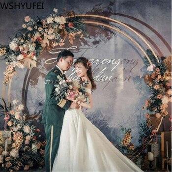Hierro forjado doble anillo redondo arco puerta al aire libre flor césped boda Puerta de flores estante boda cumpleaños Navidad Decoración