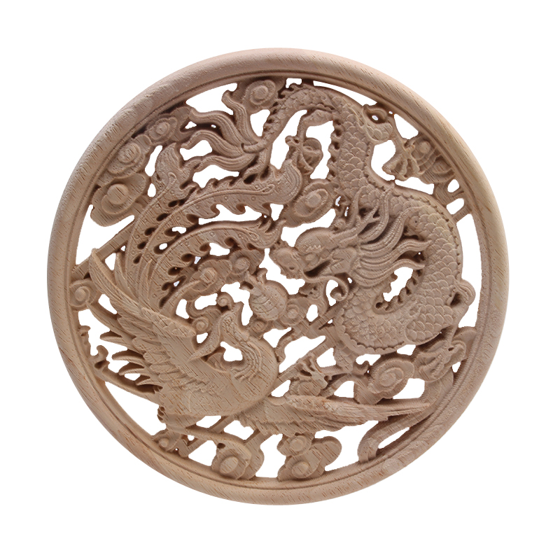 European Decorative New Solid Wood Dragon And Phoenix Round Flower Factory Direct-Selling Carved Decorative Furniture Wood Decal