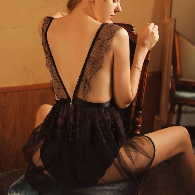 Love Sunset Women Sleepwear Mesh Perspective Slim Strap Nightdress Sexy Temptation Net Gauze Lace Ultra thin Sling Nightgowns