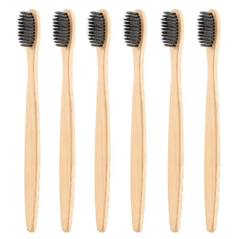 1pc Design Mixed Color Bamboo Toothbrush Eco Friendly Wooden Tooth Brush Soft Bristle Tip Charcoal Adults Oral Care Toothbrush