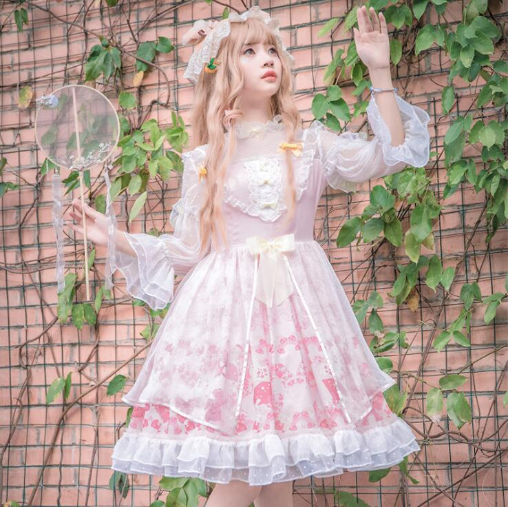 Princess daily sweet lolita dress vintage lace bowknot high collar cute printing victorian dress kawaii girl gothic lolita op