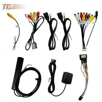 TIEBRO Microphone USB GPS Rear View Camera RCA Output AUX SIM Card Slot Radio Converter 16 PIN 4G Power Cable For Car Navigation image