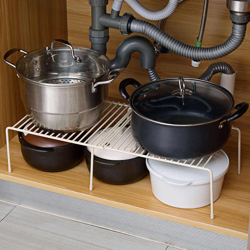iron adjustable kitchen under sink storage rack dish drying rack seasoning cans bottles shelf cabinet organizer pan pot holder