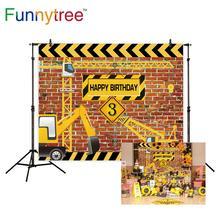 Funnytree photo background photography Brick Truck Boy Construction Party birthday backdrop photophone studio photocall