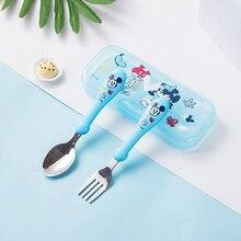 Дисней мультфильм Микки Минни детские палочки для еды обучение палочки для еды Ложка Вилка Набор детская посуда