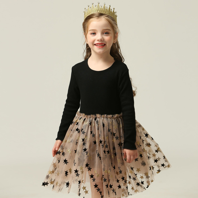 3-8 Years Autumn Girls Clothes  Kids Dresses For Girls Casual Wear Bling Star Sling Dress Baby Girl Party Children Clothing
