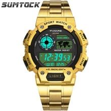 цена PANARS Gold Watch Stainless Steel Band Luxury Led Watch Digital  5Bar Water Resistant Black Cool Men Retro Wristwatch онлайн в 2017 году