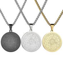 Colar de pentagrama sete arcanjo amuleto proteção pentagrama pingente colares para mulher tendência de aço inoxidável jóias presente