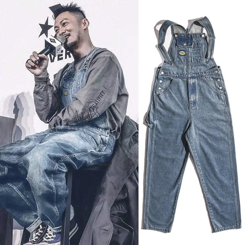 UNCLEDONJM Denim Rompers Mens Single Breasted Jumpsuit Cargo Jean Overalls One Piece Suits Romper Loose Fit Overalls Jeans