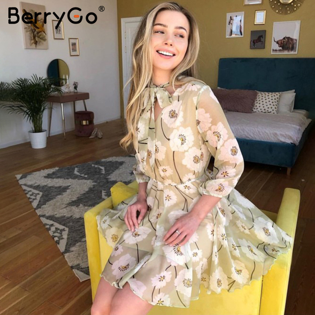 BerryGo Vintage floral print boho dress women Casual long sleeve spring chic party dress High waist work wear office lady dress 6