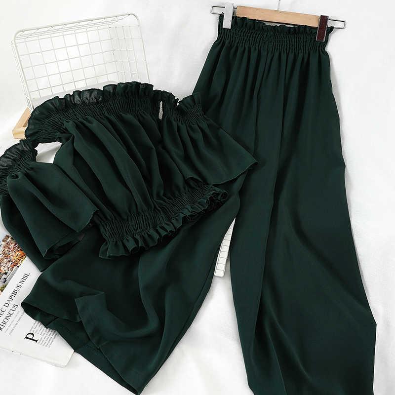 Oceanlove 夏 2 個セット女性ファッションソリッドオフショルダー半袖 2020 ropa の mujer 韓国ファッション服 14226