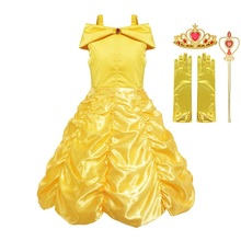 MUABABY Disfraz de bella para niña, traje de princesa para niña, sin hombros, en capas, amarillo, para fiesta, Carnaval