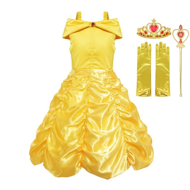 MUABABY Girls Belle Dress up Princess Costume Children Off Shoulder Layered Yellow Party Ball Gown Carnival Kids Dress