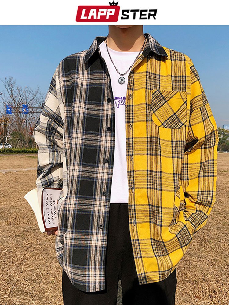 LAPPSTER Plaid Shirt Clothing Couple Button-Up Oversized Patchwork Long-Sleeve Hip-Hop