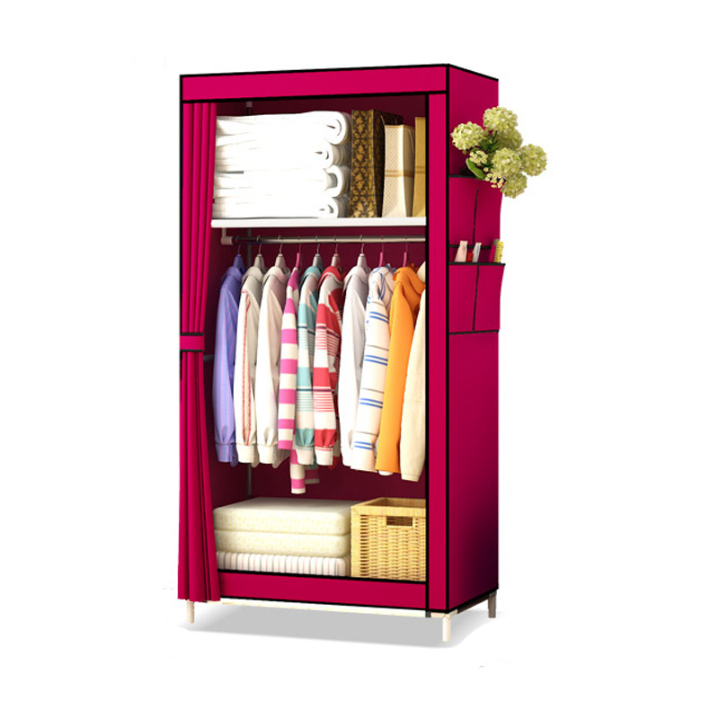 Wardrobe Simple Cloth Wardrobe Receiving Artifacts Assembly Oxford Cloth Dormitory Single Steel Tube Thickening Wardrobe