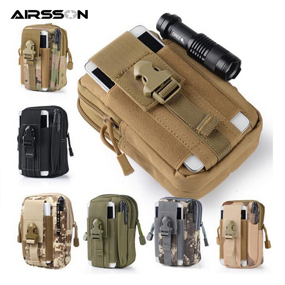 Universal Tactical Pouch Flashlight Holster Phone Case Molle Military Waist Belt Bag For Phone Wallet Pouch Purse Hunting Bags