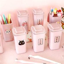 1pc adorável rosa menina caneta recipiente balde de mesa menina titular caneta de plástico organizador estudantes material de estudo de mesa decoração para casa