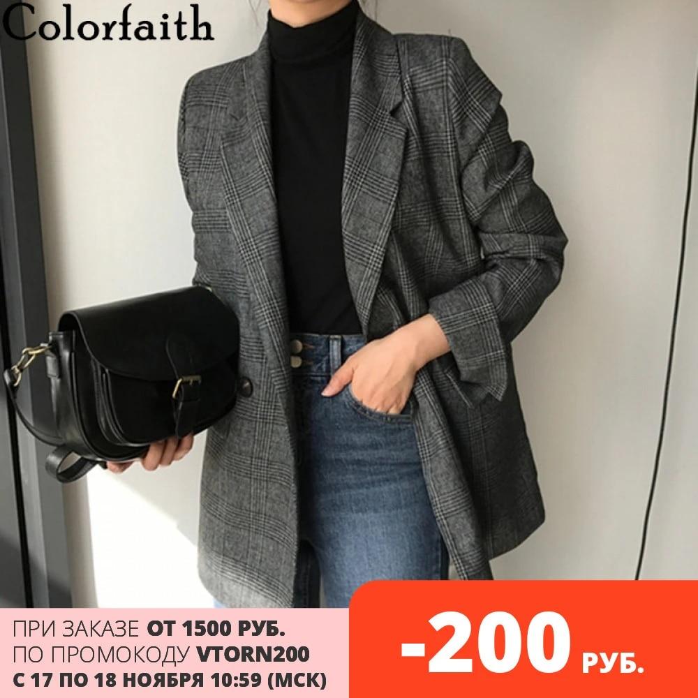 Colorfaith Новинка 2020 осень зима женские блейзеры клетчатые двубортные с карманами официальные Куртки Верхняя одежда Топы JK7113