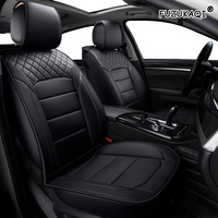 FUZHKAQI Universal 1pc PU Leather Car auto Seat CoverS car styling Accessories Cushion autocovers with Tire Track for cars styling Interior Accessories Automobiles Seat Covers