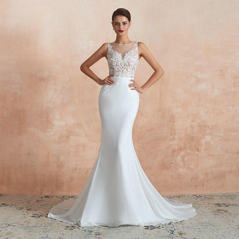 Pas cher en gros Simple blanc Sexy sirène robes de mariée robes